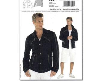 Mens Jacket Pattern Burda 7690 Jean Jacket Snap Front Zipper Pockets Collar Bomber Jacket Mens Sewing Pattern Size 34 to 44 UNCUT