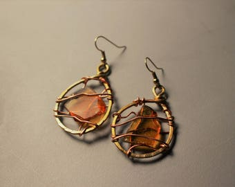 Brown Sea Glass Gold Tone Anodized Aluminum Wire Wrapped Earrings