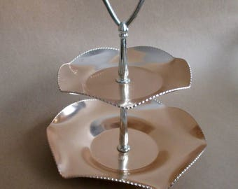 Tiered Aluminum Serving Tray Tidbit Tray Snack Tray Tea Party