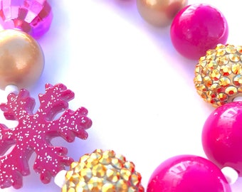Hot pink and gold Valentine's day little girls necklace. Bubblegum bead necklace. Snowflake necklace. Valentine's gift. Gifts for girls.