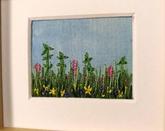 Handmade framed flower landscape embroidery - homeware, gift