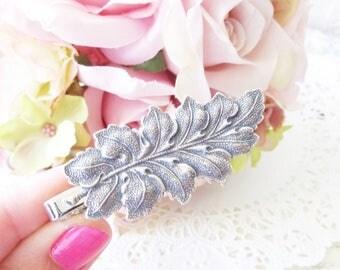 Ox Silver Leaf Tie Bar - Leaf Tie Bar - Mens Tie Clip - Wedding Accessory - Groomsmen Leaf Tie Bar - Woodland Wedding - Autumn Leaf