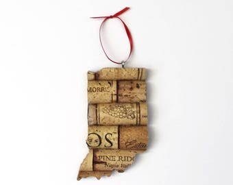 indiana ornament - wine cork ornaments - state ornament - gift for wine lovers - wine gifts - rustic christmas ornaments - going away gift