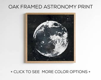 Framed Astronomy Print - Full Moon Wall Art with Oak Wood Frame Included