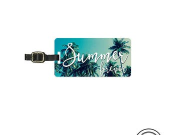 Luggage Tag  Summer Forever Palm Tree Sky Metal Luggage Tag  With Printed Custom Info On Back, Single Tag