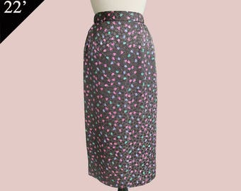 Japan Roses hologram Pencil Skirt 80s 90s vintage misses teen / Black Turquoise Pink/ XS Small 22 inch