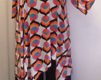 Coco Juan, Lagenlook Plus Size Top, Asymmetrical Tunic Top, Women's Tunic Top, Orange Pink, Print Knit Size 2 (fits 3X,4X)  Bust 60 inches
