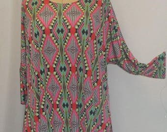 Plus Size Top, Coco and Juan, Lagenlook, Plus Size Tunic, Pink Fuchsia  Print, Knit Drape Side, Tunic Top, One Size, Bust  to 60 inches