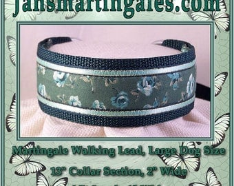Jansmartingales,  Dark Green Walking Lead, Dog Collar and Lead Combination, Greyhound, Large Dog Size, Dgrn1115