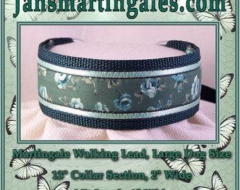 Jansmartingales,  Dark Green Walking Lead, Dog Collar and Lead Combination, Greyhound, Large Dog Size, Dgrn1115