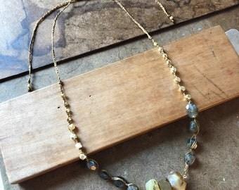 Handwoven Abundance Beaded Necklace with Citrine Pendant