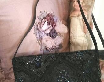 vintage black beaded bag, black vintage purse, seed beads sequins, black evening bag,