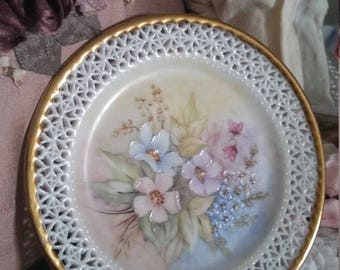 EXQUISITE hand painted plate, delicate filligree edge, signed by artist, victorian look, spring colours