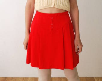 60s 70s pleated mini skirt. bright red skirt. full mini skirt - small