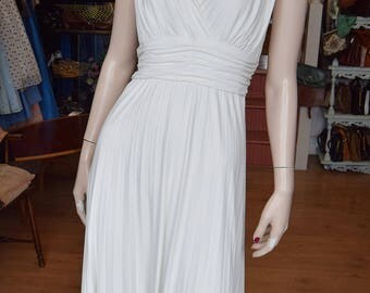 "1970's  White Pleat Grecian Styled Dress , 38"" bust 34"" waist"