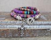 Christian Cross Boho Wrap Bracelet