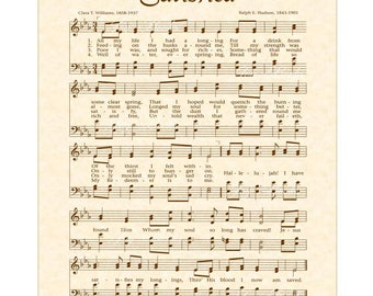 SATISFIED - Hymn Wall Art - Christian Home & Office Decor - Vintage Verses Sheet Music - Hymn Wall Art - Inspirational Wall Art- Sepia- Sale