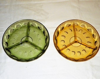 "Indiana Glass Thumbprint Divided Relish Dish, 8"" Round Tray, Your Choice of Olive Green or Amber Dish"