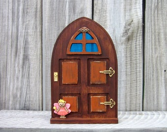 Wooden Fairy Door, Indoor Fairy Door, Stained Wood, Orange, Pretend Play, Miniature Door, Role Play, Imagination Play, Fairy, Childs Gift