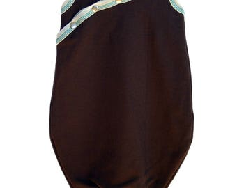 Bamboo fleece sleep sack with bamboo organic cotton jersey lining inside - double breathable layer baby blanket- brown