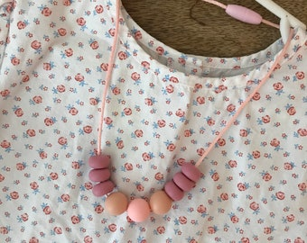 Pink + Wood Toddler Necklace