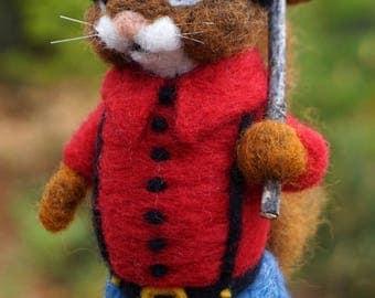 Needle Felted Lumberjack Chipmunk - Needlefelted Wool and Animal Soft Sculpture