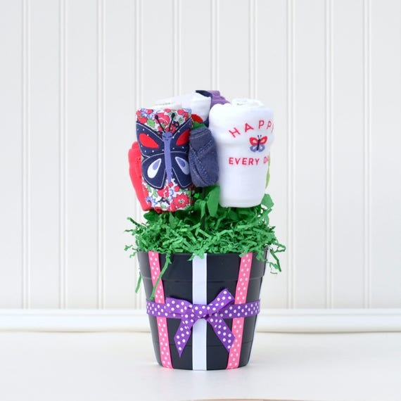 Unique girl baby gift butterfly navy purple