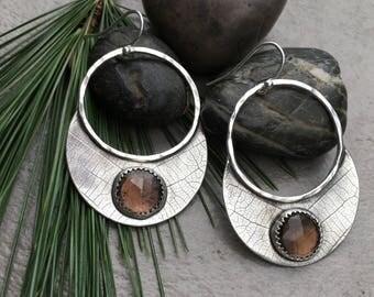 Smoky Quartz and Sterling Silver Statement Earrings - Leaf Dangle Earrings - Botanical Jewelry - Big Hoop Dangle Earrings with Stones