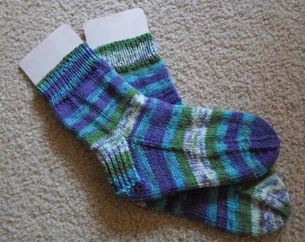 Socks - Handknitted Socks  - Size Medium - Color Aquarelle