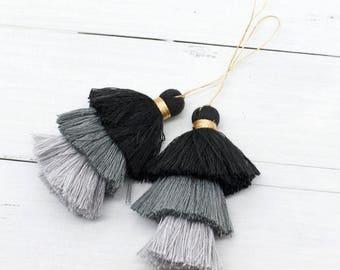 Black Tassels, 2pcs, 3 Inch, Gold Loop,  Triple Layer Tassels, Tassel Decoration