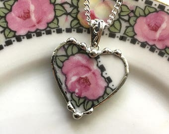 Broken china jewelry beautiful heart pendant broken china jewelry necklace antique pink rose porcelain