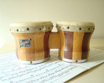 Zim Gar bongo drums, Mexico, small vintage 50s bongos, 11-1/2 wood bongo, musical instrument, party percussion, beatnik hipster gift for guy