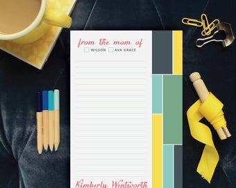 Colorblock Notepad from the Mom of, Personalized Modern Geometric and Funky Stylish Stationery, Desk Supplies for Mom