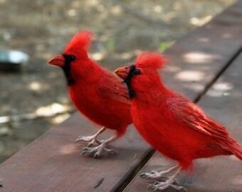 Needle Felted Bird.  Cardinal Bird.