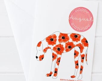 August Birthday - Birth Flower Poppy Dog Greeting Card