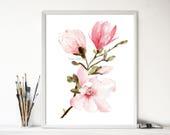 Magnolia print, Magnolia art print, Magnolia watercolor print, floral art, magnolia flower, pink flower, botanical print, Mississippi flower