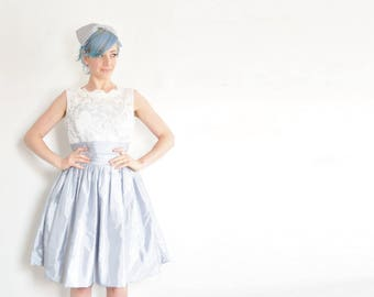 sheer illusion mod lace dress . pastel white blue bridesmaid . matching bow accessory .medium.large