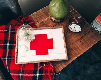 Reclaimed wood tray; serving tray, decorative tray, wood tray, ottoman tray, serving platter, swiss cross, nurse gift, red cross, barnwood