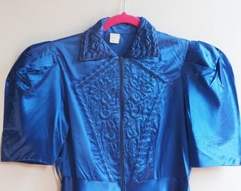 Stunning Sapphire Royal Blue Old Hollywood 1930s 1940s Embroidered Nightgown House Dress Robe Lingerie
