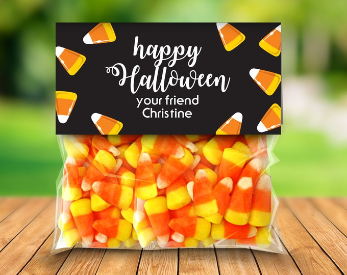 "Candy Corn Treat Baggie Toppers - Halloween Party, Halloween Favor, 4"" Treat Bag Topper 