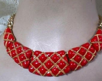 Vintage Red Enamel Necklace and Earrings