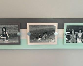 Rustic photo frame, triple picture frame, beach frame, gray photo frame, 4x6 frames, farmhouse decor, wooden frame, 3 photo frame