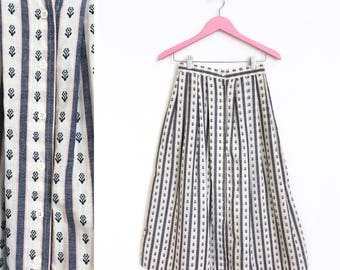 Vintage 1970s Vertical Stripe Pink Blue White Floral Button Front A Line Midi Linen Skirt Size 10