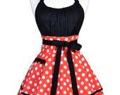 Flirty Chic Halloween Apron - Retro Womens Orange Polka Dot with Black Sexy Pinup Costume Apron (DP)