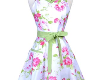 Sweetheart Womens Retro Apron in Pink Roses Floral 50s Style Vintage Kitchen Apron with Personalized Monogram Option (FM)