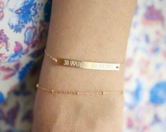 Coordinate Bracelet Gold | Longitude Latitude Bracelet | Personalized Bar Bracelet | Gold, Rose Gold or Sterling Silver