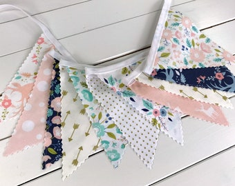 Bunting Banner,Fabric Banner,Nursery Decor,Blush Pink,Mint,Navy Blue,Gold,Aztec Nursery,Tribal Nursery,Feather,Boho,Buck,Flowers,Arrows