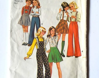 Vintage Sewing Pattern, Girl's 70's Uncut, Simplicity 6588, Bell Bottom Pants, Skirt (Size 7)