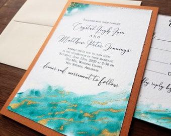 wedding invitations copper wedding invitations watercolor wedding invitations gold vein wedding invitations hand painted wedding invitation