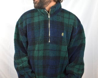 Vintage 80s 90s Nautica Blue Green Plaid Fleece Jacket Coat Pullover